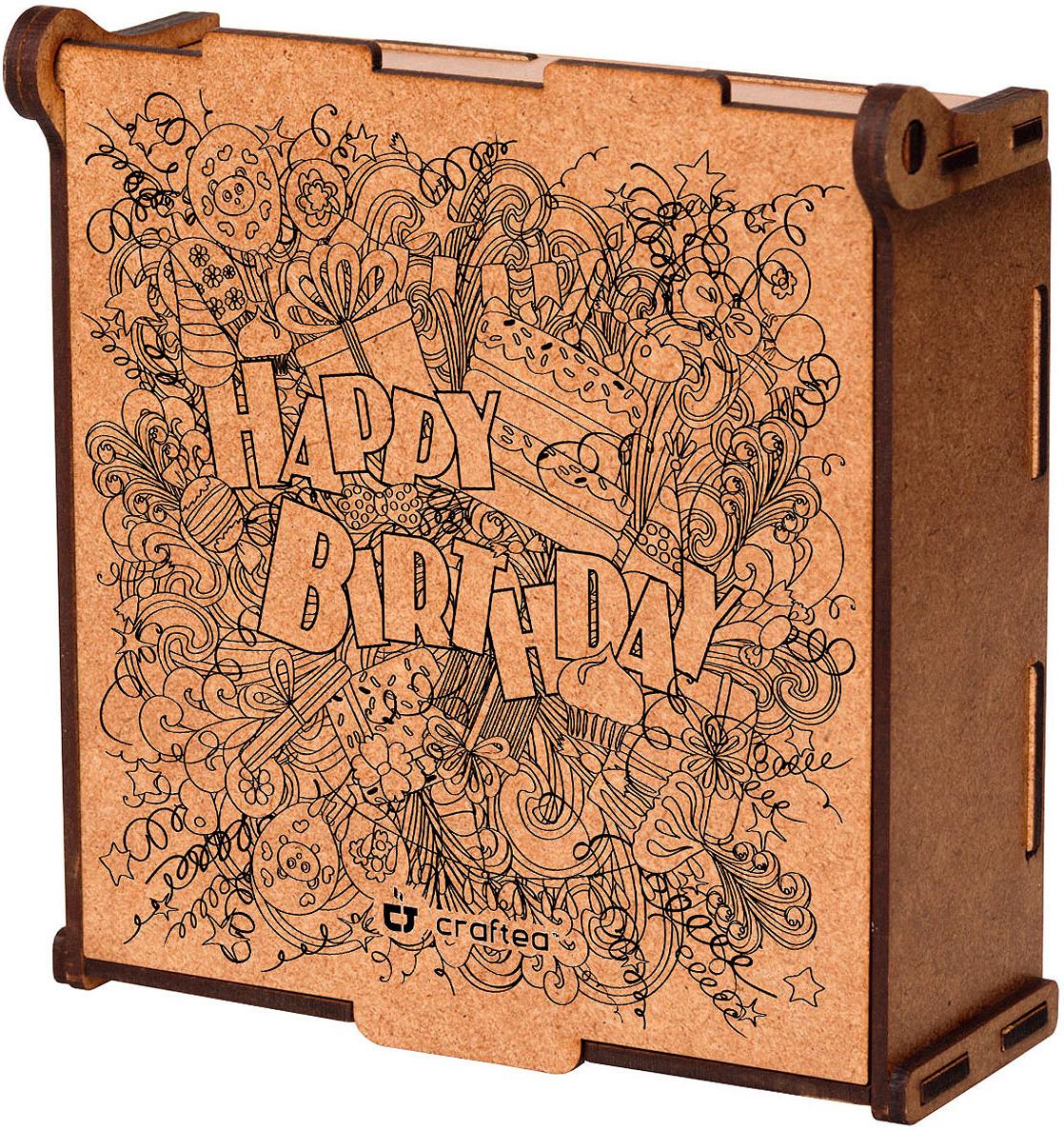 Подарочный чайный набор CrafTea Happy Birthday, в деревянной шкатулке подарочный чайный набор craftea honey