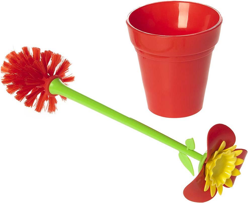 """Ершик для унитаза Fresh Code """"Цветок"""", на подставке, 70406, красный"""