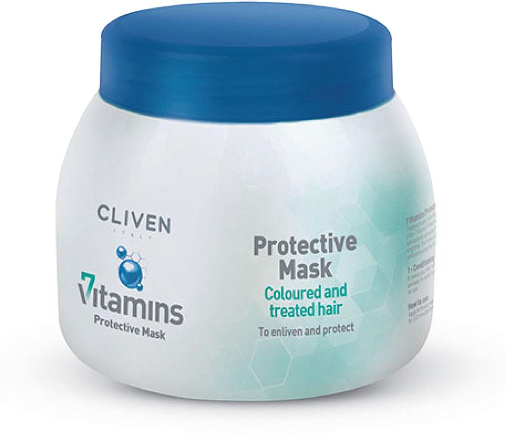 Маска для волос Cliven 7 Vitamine для окрашенных и поврежденных волос, 500 мл7927Каждый день ваши волосы подвергаются агрессии со стороны окружающей среды, поэтому их необходимо защищать и питать. Витаминный комплекс, содержащийся в каждой рецептуре, воздействует на кератиновую структуру волос и его регенерирующую функцию, чтобы помочь им оставаться сильными и здоровыми. Линия Cliven 7 Vitamins предлагает полный спектр средств для лечения волос для различных типов волос. 1. Витамин PP: укрепление 2. Витамин H: себорегуляция 3. Витамин E: увлажнение 4. Pro-vitamin B5 (Пантенол): регенерация 5. Витамин F:питание 6. Витамин B6:защита 7. Витамин C: анти-оксидант. Волосы непрерывно подвергаются воздействию внешних факторов, которые уменьшают их эластичность и волосы выглядят тусклыми и безжизненными. Защитная маска для волос благодаря комплексу 7 витаминов и высоко увлажняющим натуральным компонентам глубоко восстанавливает здоровье и жизненную силу сухих и поврежденных волос. Комплекс натуральных антиоксидантов защищает волосы от вредного воздействия лучей UV и фена, сохраняя надолго яркость цвета волос.