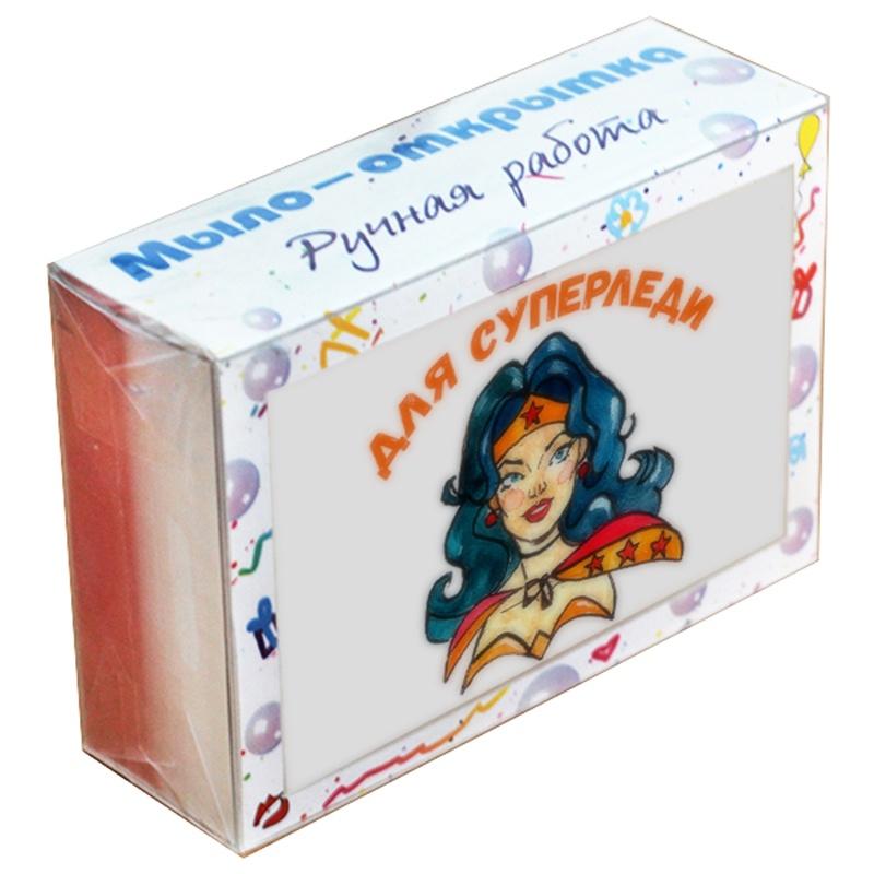 """Мыло туалетное ЭЛИБЭСТ Мыло-открытка """"Для суперледи"""", альтернатива обычной открытке, полезный подарок для женщины, девушки, девочки, 100 гр."""