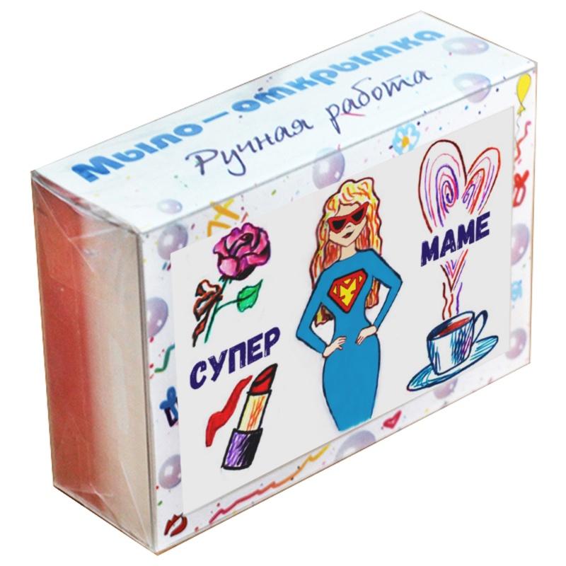 """Мыло туалетное ЭЛИБЭСТ Мыло-открытка """"Супермаме"""", вместо картонной открытки небольшой оригинальный полезный подарок маме, 100 гр."""