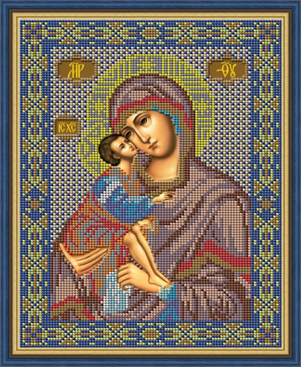 Набор для вышивания Galla Collection Набор для вышивания бисером «Икона Божией Матери Донская», 20 x 27 см, И009 цена и фото
