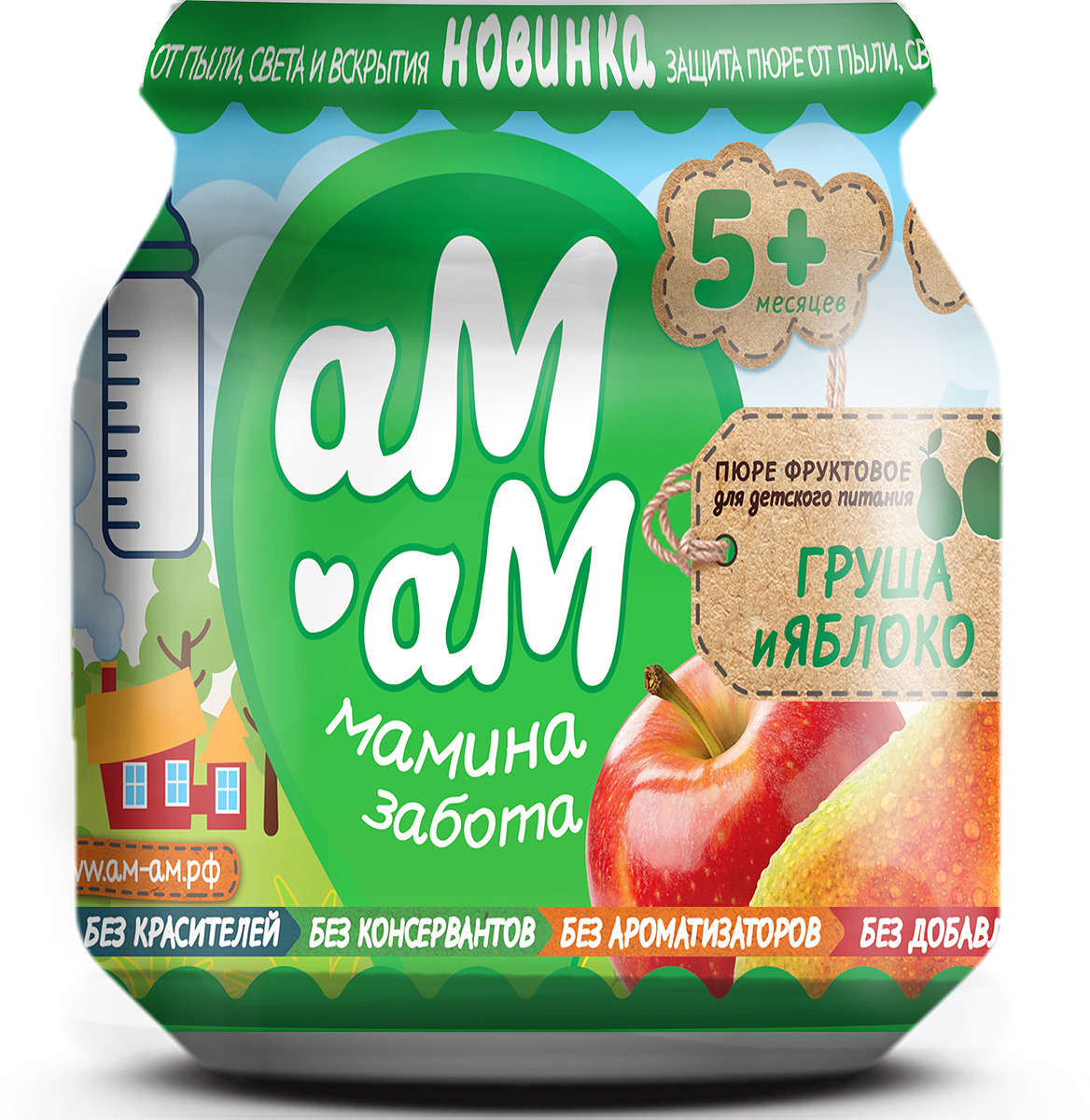 Пюре для детей Ам-Ам фруктовое из груш и яблок для детского питания, стерилизованное, 12 шт по 90 г пюре для детей ам ам индейка мясное для раннего возраста 8 шт по 100 г