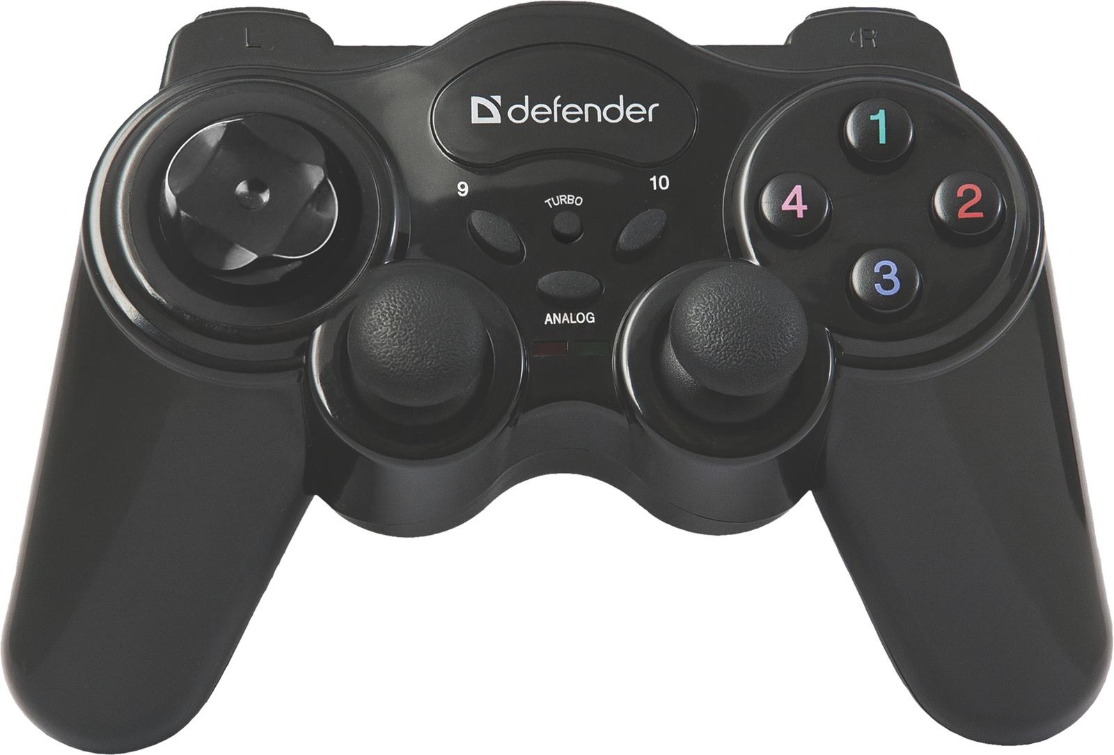 Беспроводной геймпад Defender Game Master Wireless USB, радио, 12 кнопок, 2 стика цена 2017