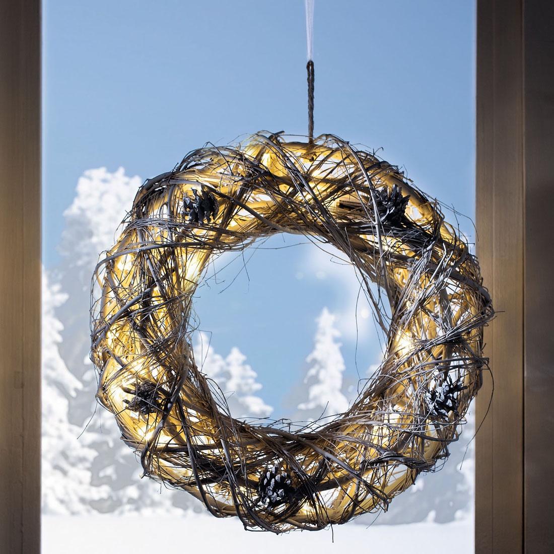 Венок Хит-декор Зима со светодиодной подсветкой, 05862, 40х10 см венок на стену 25см золотой текстильный декор