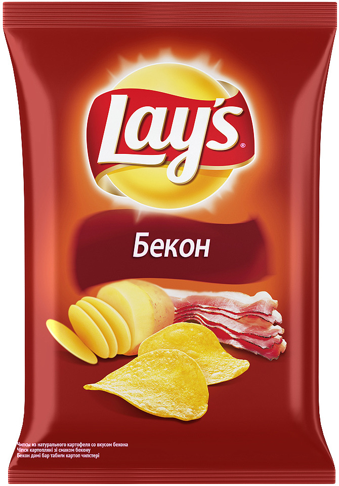 Чипсы Lays Бекон картофельные, 150 г340007372Чипсы Lays со вкусом бекона, поджаренного до золотистой корочки, в сочетании с хрустящей картошечкой — это особое удовольствие для настоящих ценителей Lays.
