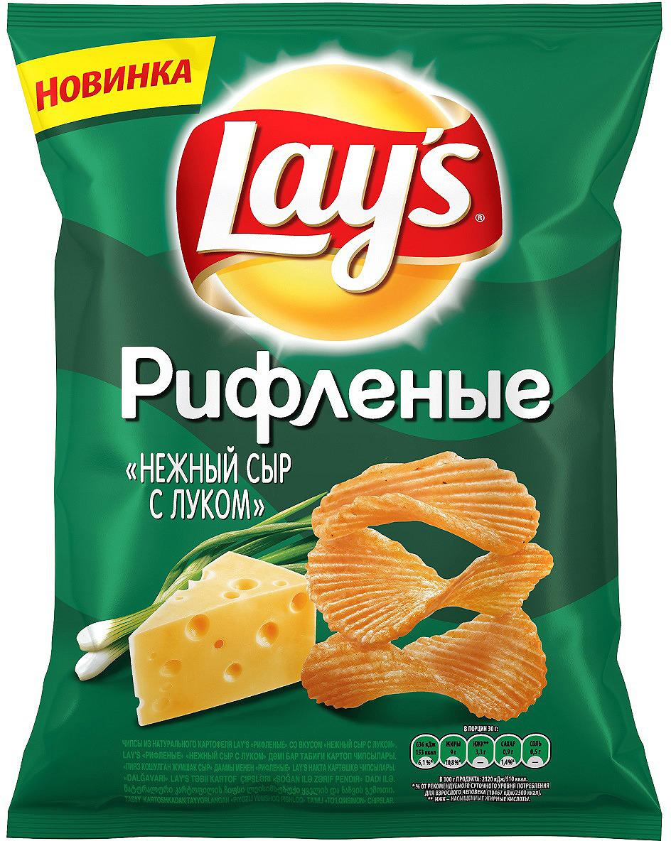 Чипсы Lay's Нежный сыр с луком рифленые картофельные, 80 г grizzon соломка картофельная со вкусом сыра 80 г