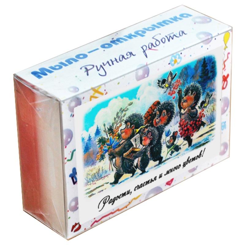 """Мыло туалетное ЭЛИБЭСТ Мыло-открытка """"Радости,счастья и много цветов"""", полезный подарок женщине, девушке, девочке, маме, бабушке, 100 гр."""