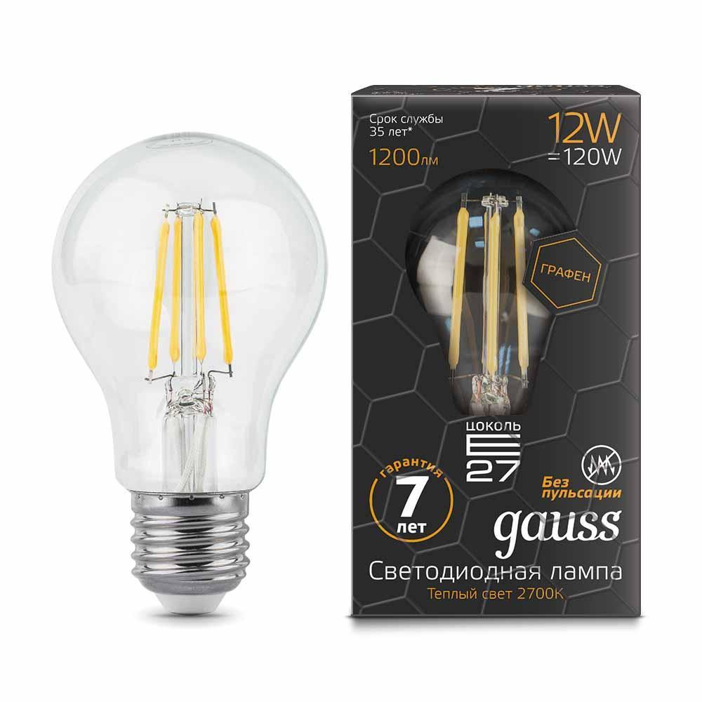 Лампа Gauss LED Filament Graphene A60 E27 12W 2700К светодиоидная, 102802112