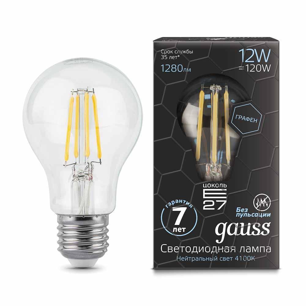 Лампа Gauss LED Filament Graphene A60 E27 12W 4100К светодиоидная, 102802212