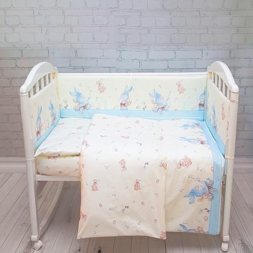 """Комплект в кроватку Baby Nice """"Зайчики"""", H9/14BL, голубой, 6 предметов"""