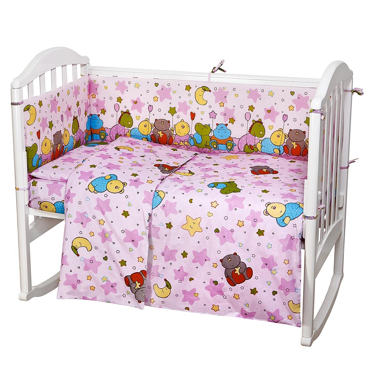 """Комплект в кроватку Споки Ноки """"Звездопад"""", H13/11RO, розовый, 6 предметов"""