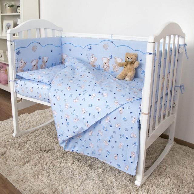 """Комплект в кроватку Споки Ноки """"Мишки"""", H13/17BL, голубой, 6 предметов"""