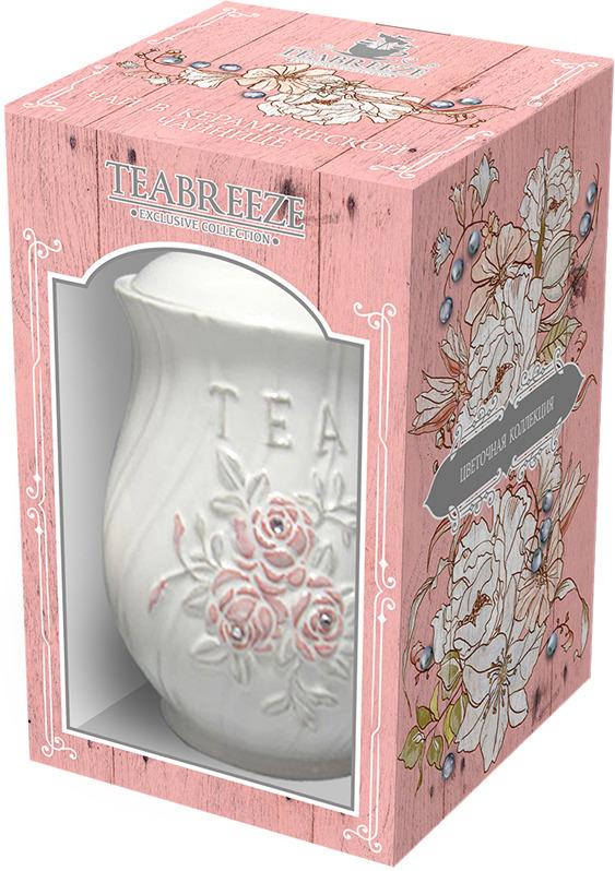 Чай листовой Teabreeze Цветочная коллекция Орхидеи Земляника со сливками в керамической чайнице, 100 г teabreeze листовой ароматизированный чай земляника со сливками 100 г
