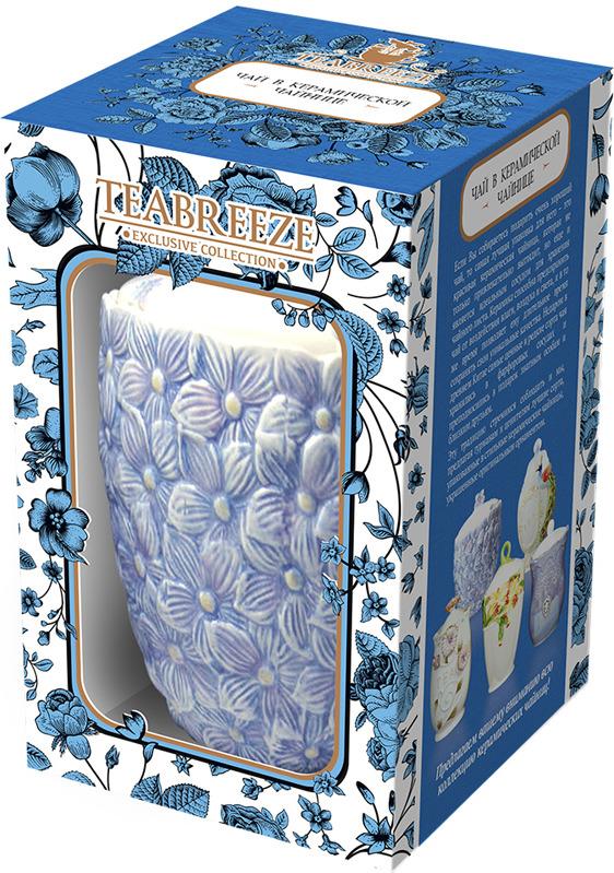 Чай листовой Teabreeze Цветочная коллекция Цветы Земляника со сливками в керамической чайнице, 100 г teabreeze листовой ароматизированный чай земляника со сливками 100 г