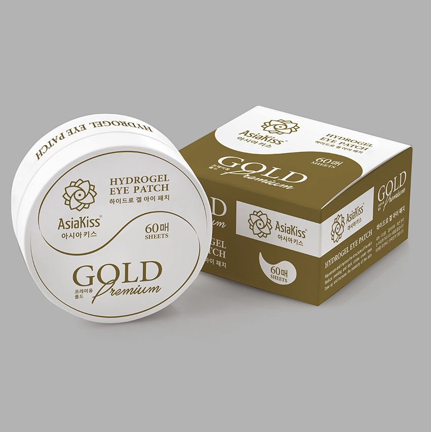 Патчи АsiaKiss Hydrogel eye patch GOLD Premium гидрогелевые, 60 шт
