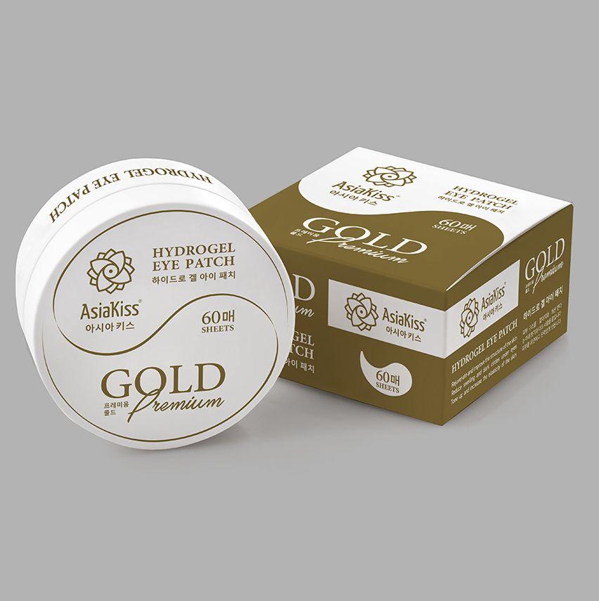 Патчи АsiaKiss Hydrogel eye patch GOLD Premium гидрогелевые, 60 шт