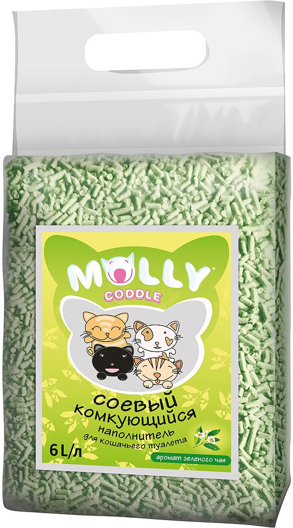 Наполнитель для кошачьего туалета Molly Coddle 1785, соевый, комкующийся, с ароматом зеленого чая , 6 л когтеточка стойка molly coddle неженка лапа малая коврово джутовая 58 см