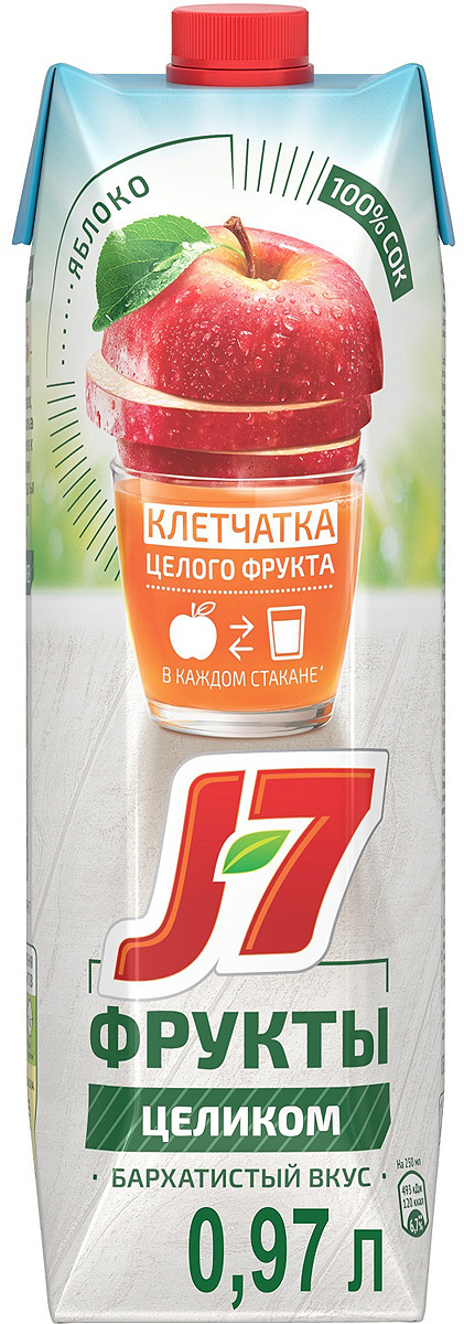 J-7 Фрукты целиком Яблоко сок, 0,97 л сок джей 7 цена