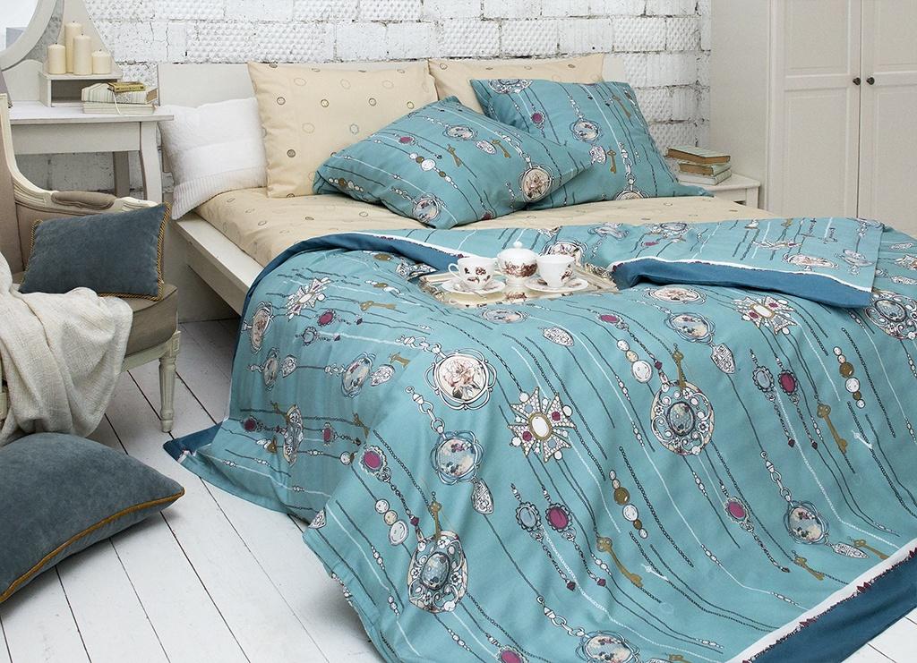 Комплект постельного белья Tiffany's Secret Секрет Тиффани, 2040815187, евро, бирюзовый комплект постельного белья tiffany s secret 2 х сп сатин секрет тиффани