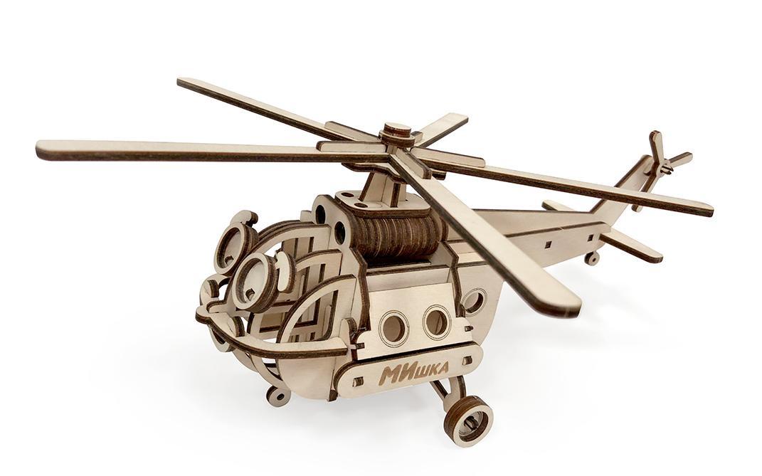 Фото - Деревянный конструктор Lemmo Вертолет МИшка конструктор lemmo внедорожник скорпион 74эл