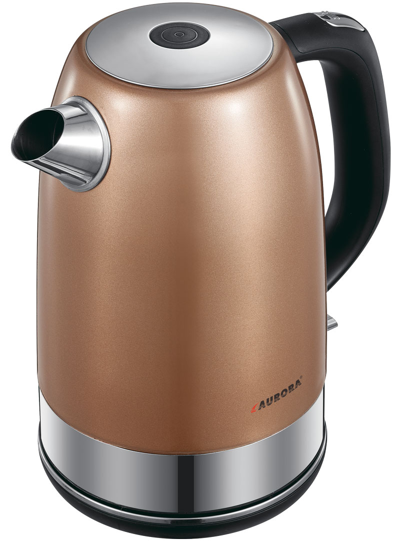 Электрический чайник AURORA Чайник электрический AU015, коричневый, серебристый цена и фото