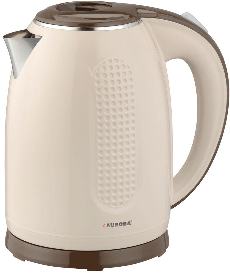 Электрический чайник AURORA Чайник электрический AU3402, бежевый, коричневый цена и фото