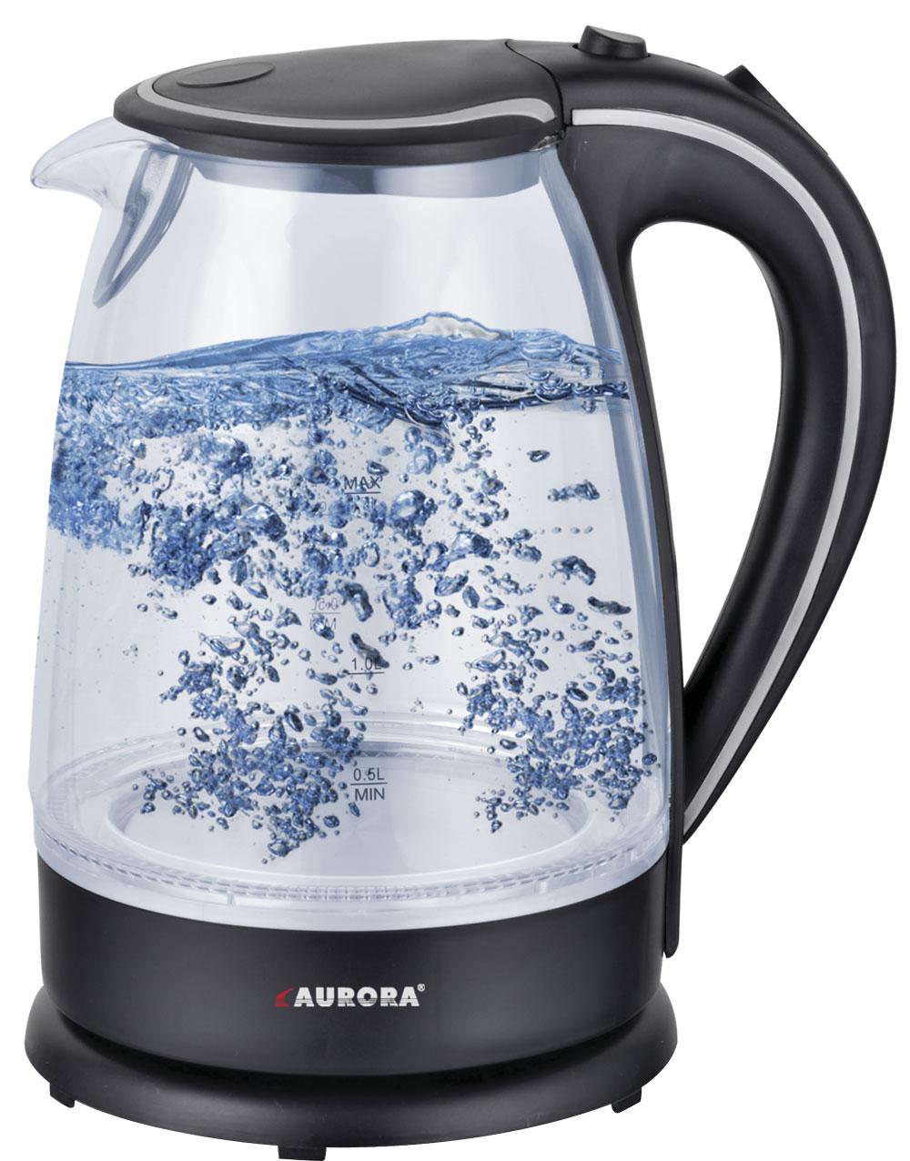 Электрический чайник AURORA Чайник электрический AU3406, черныйAU33522200Вт max / стекло / 1,7л / дисковый нагревательный элемент / фильтр / шкала уровня воды / индикация работы / подсветка