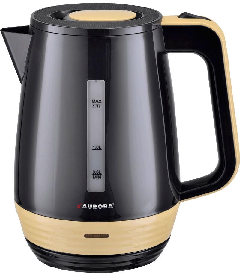 Электрический чайник AURORA Чайник электрический AU3504, черный, бежевый цена и фото