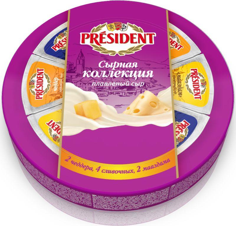 Сыр плавленый President Сырная коллекция 45%: сливочный, мааcдам, чеддер, 140 г president сыр с пряными травами плавленый 45% 200 г