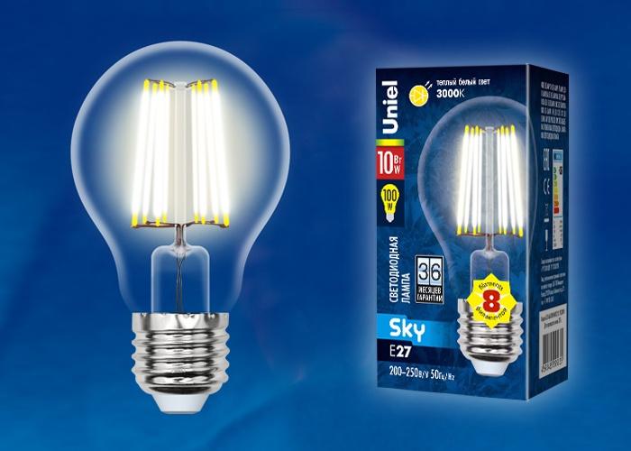 Лампа Uniel LED-A60-10W/WW/E27/CL 3000K, UL-00002625