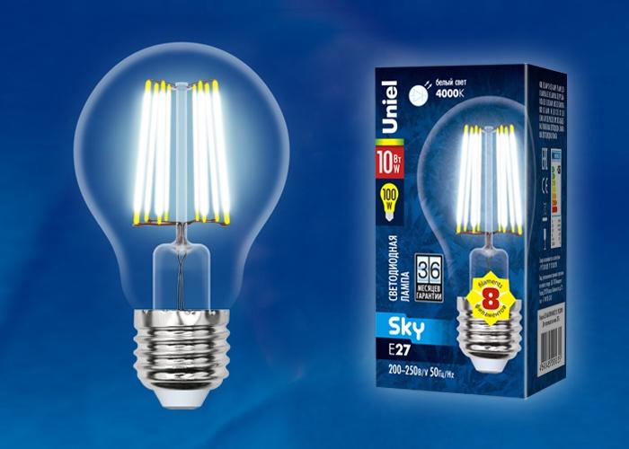 Лампа Uniel LED-A60-10W/NW/E27/CL 4000K, UL-00002626