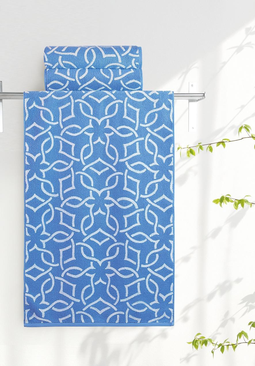 Полотенце Aquarelle Стамбул, цвет: белый, синий, 70 х 140 см полотенце махровое aquarelle волна цвет ваниль 70 x 140 см