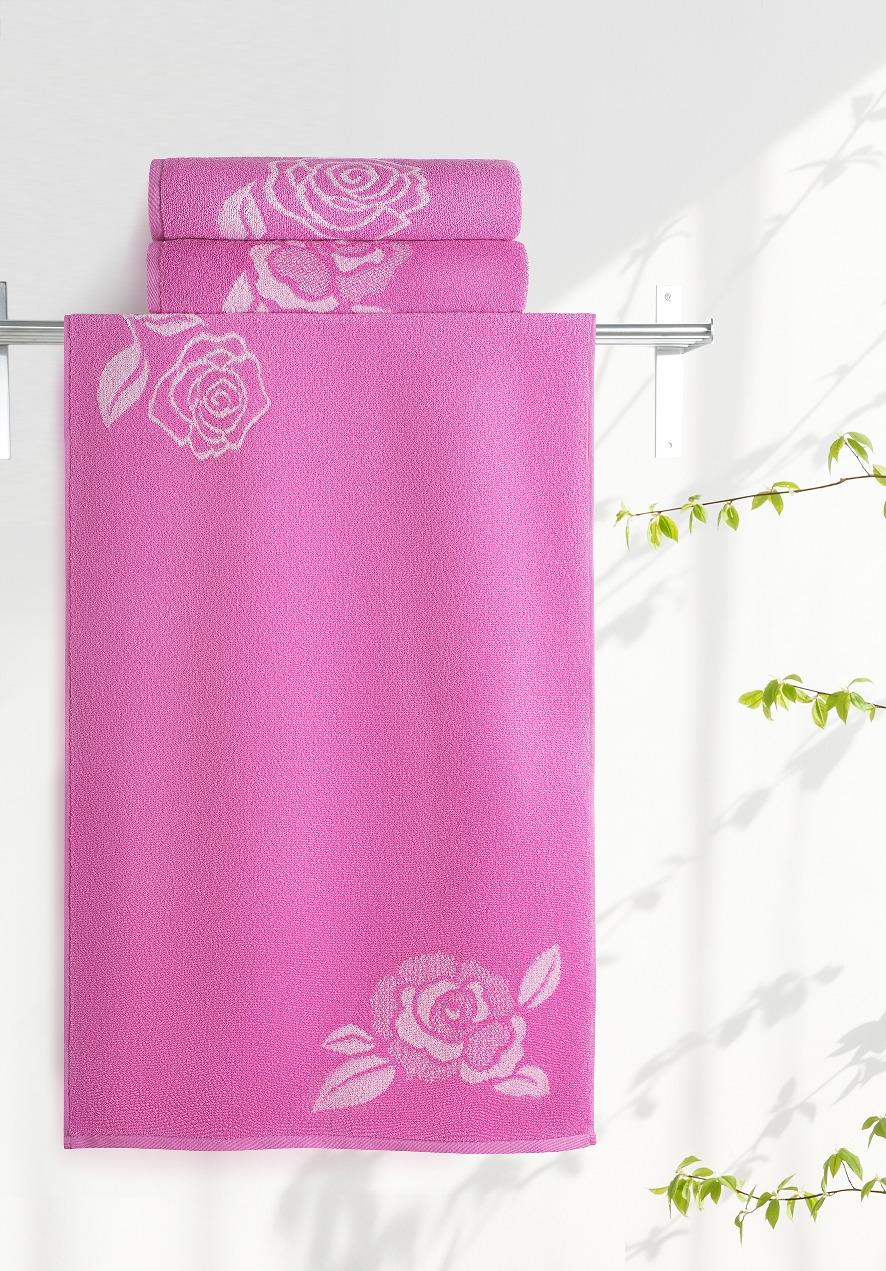 Полотенце Aquarelle Розы 1, цвет: розовый, орхидея, 70 х 140 см полотенце махровое aquarelle волна цвет ваниль 70 x 140 см