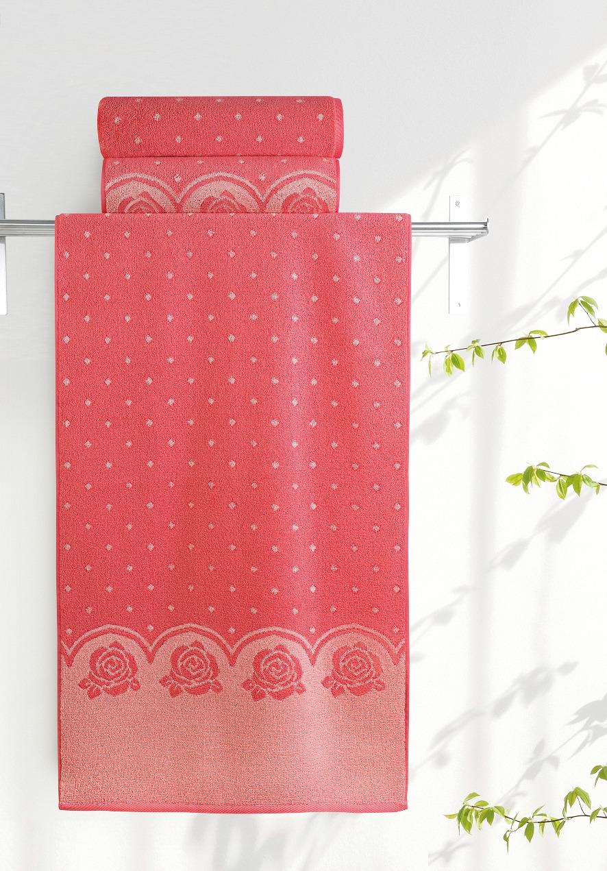 Полотенце Aquarelle Розы 3, цвет: розово-персиковый, коралловый, 70 х 140 см полотенце aquarelle розы 3 цвет розовый орхидея 50 х 90 см