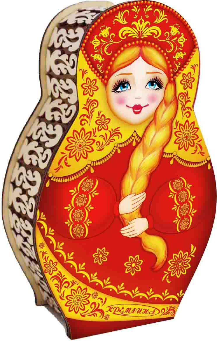 Конфеты в шкатулке Кремлина Матрешка красная вишня в шоколадной глазури, 200 г кремлина зимние катания конфеты вишня в шоколадной глазури в футляре для очков 40 г