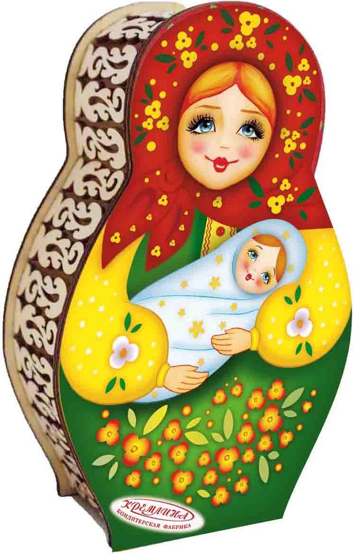 Конфеты в шкатулке Кремлина Матрешка с лялькой вишня в шоколадной глазури, 200 г кремлина зимние катания конфеты вишня в шоколадной глазури в футляре для очков 40 г