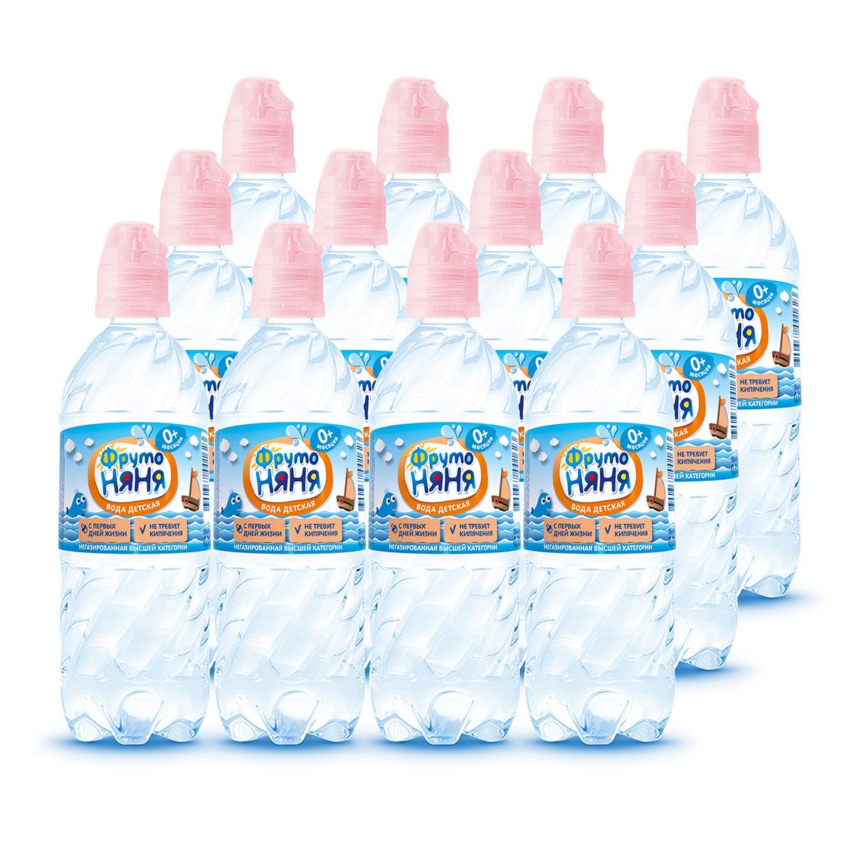 ФрутоНяня водаартезианская питьевая негазированная, 12 шт по 0,33 л вода детская фрутоняня с рождения 5 л