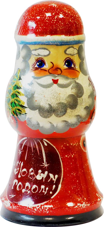 Кремлина Дед Мороз конфеты вишня в шоколадной глазури в деревянной шкатулке, 70 г кремлина зимние катания конфеты вишня в шоколадной глазури в футляре для очков 40 г