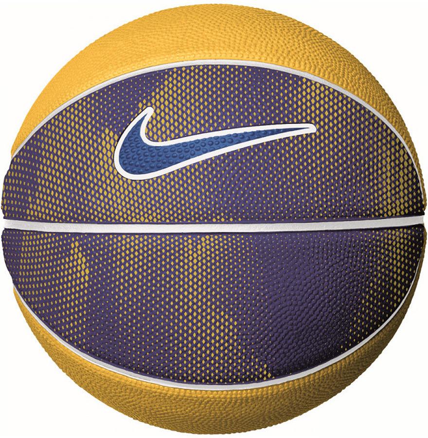 Мяч баскетбольный Nike Swoosh Mini, цвет: синий, желтый. Размер 3 баскетбольный мяч nike hyper elite 8p 06 n kl 02 855