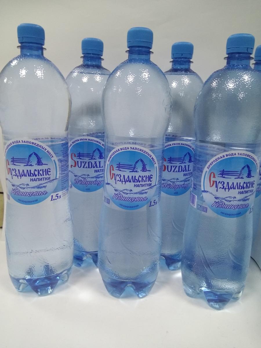 Вода Суздальские напитки, родниковая, негазированная, 6 шт х 1.5 л