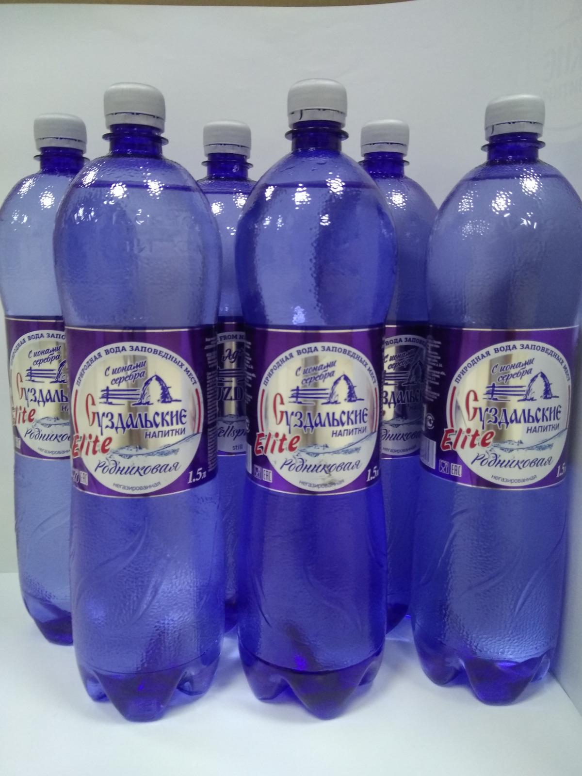 """Вода Суздальские напитки """"Элита"""", родниковая, с ионами серебра, не газированная, 6 шт х 1.5 л"""