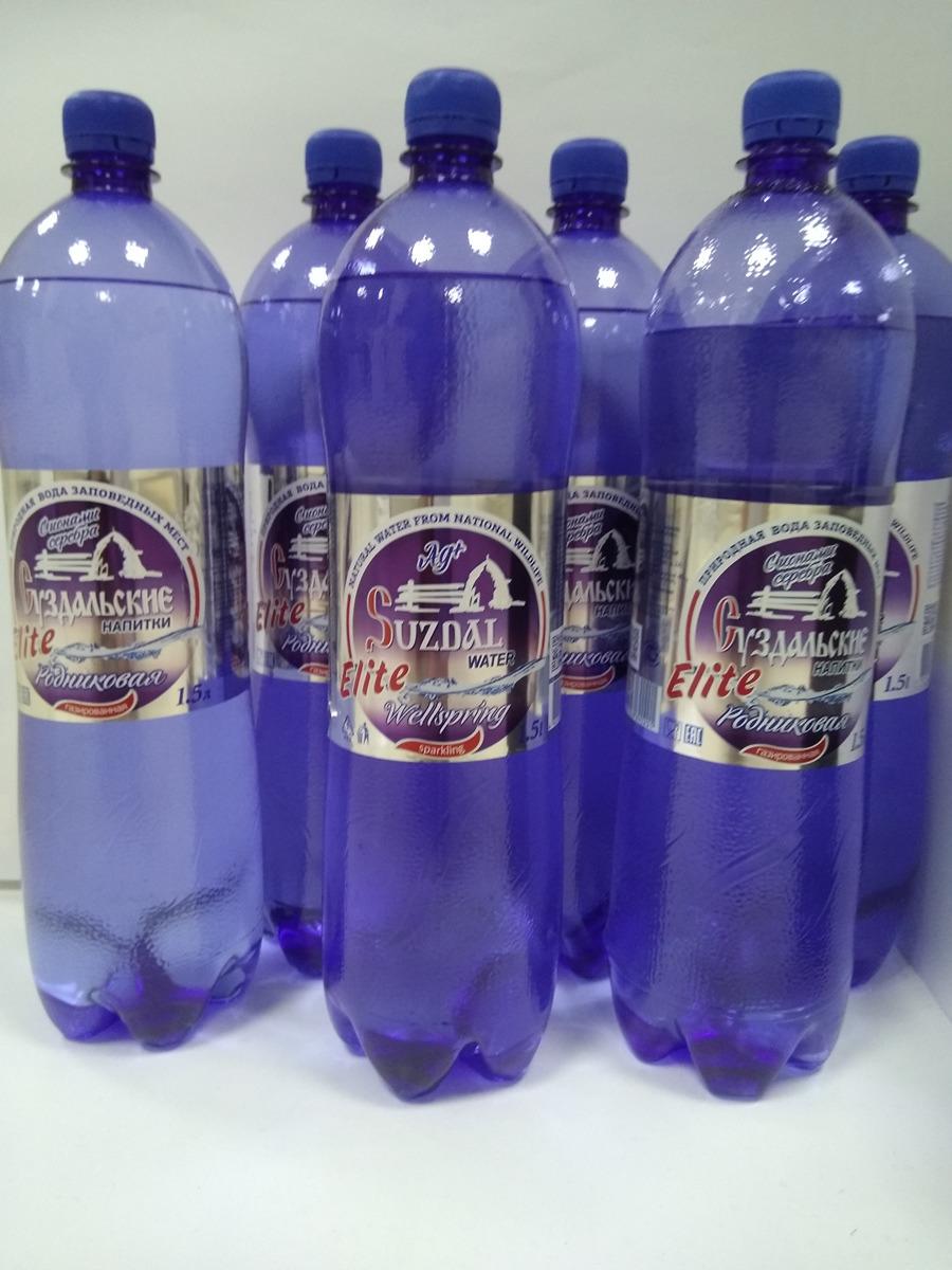 """Вода Суздальские напитки """"Элита"""", родниковая, с ионами серебра, газированная, 6 шт х 1.5 л"""