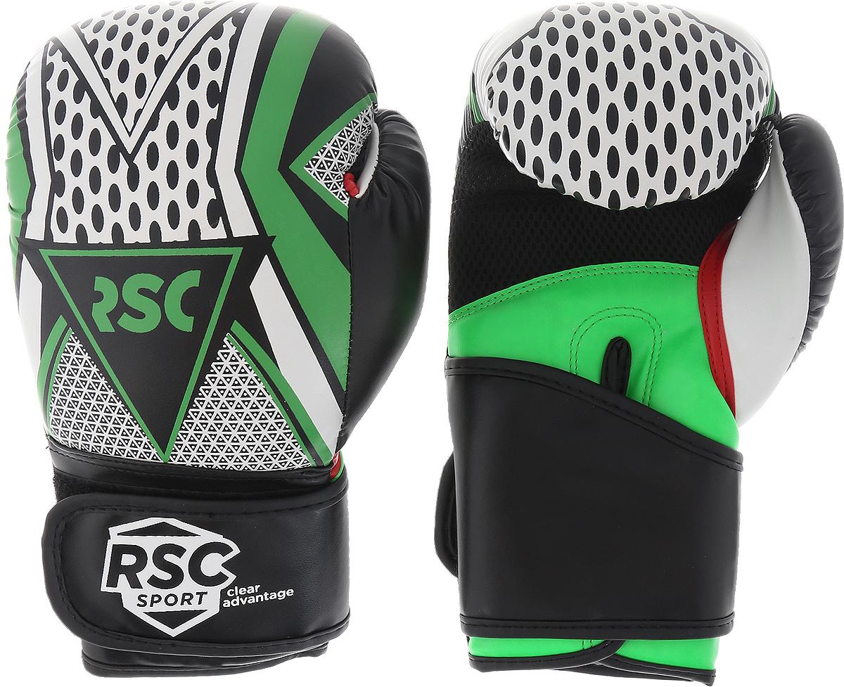 Перчатки боксерские RSC PU 3613, 00027032, серый, зеленый, вес 12 унций
