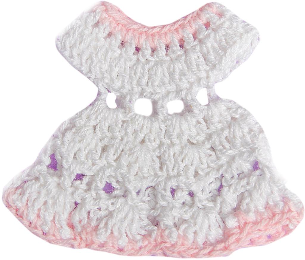 Платье для куклы, 3488186, белый, розовый