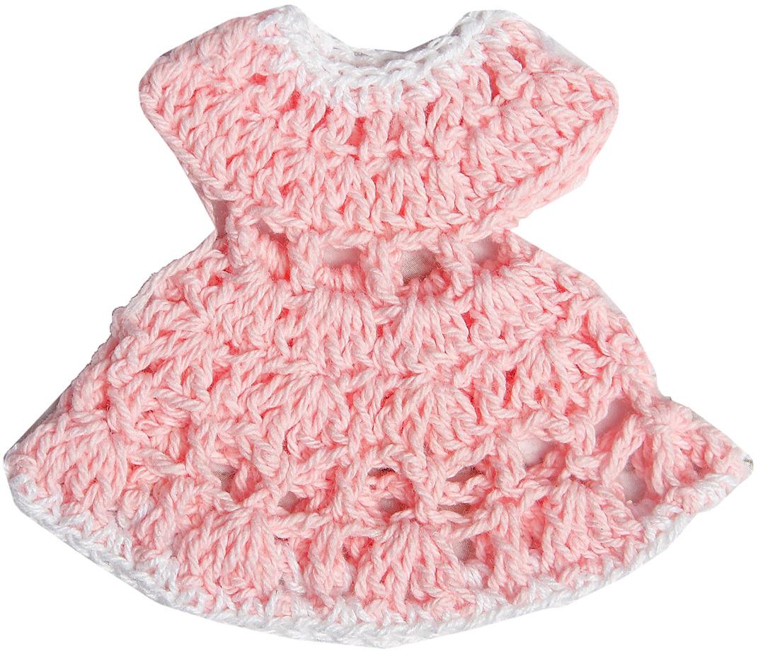 Платье для куклы, 3488187, белый, розовый