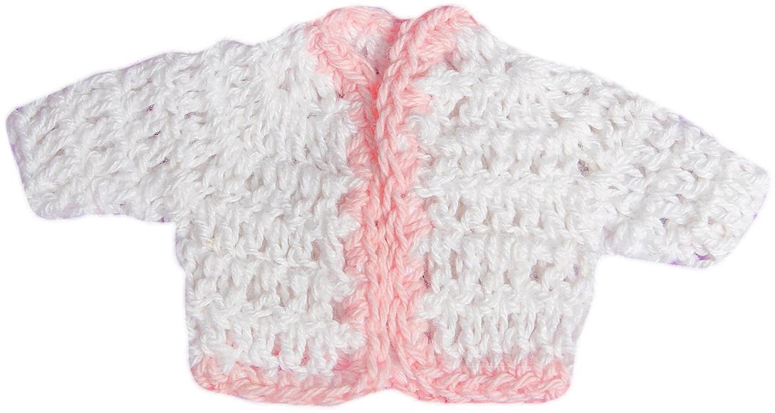 Кофточка для куклы, 3488188, белый, розовый