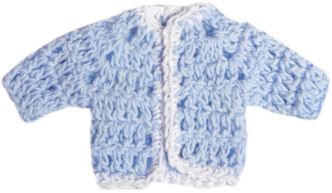 Кофточка для куклы, 3488190, голубой, белый
