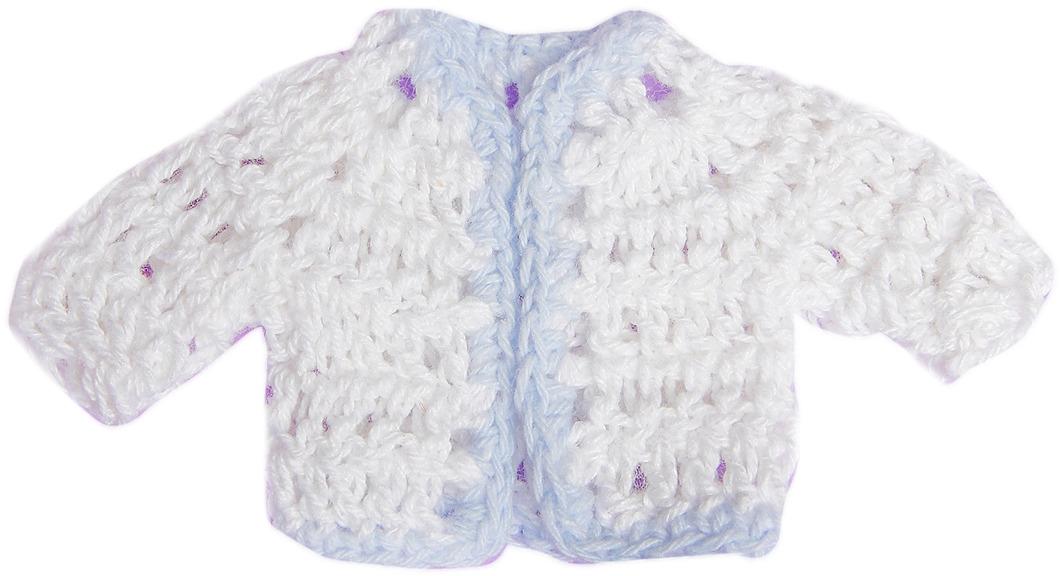 Кофточка для куклы, 3488191, белый, голубой
