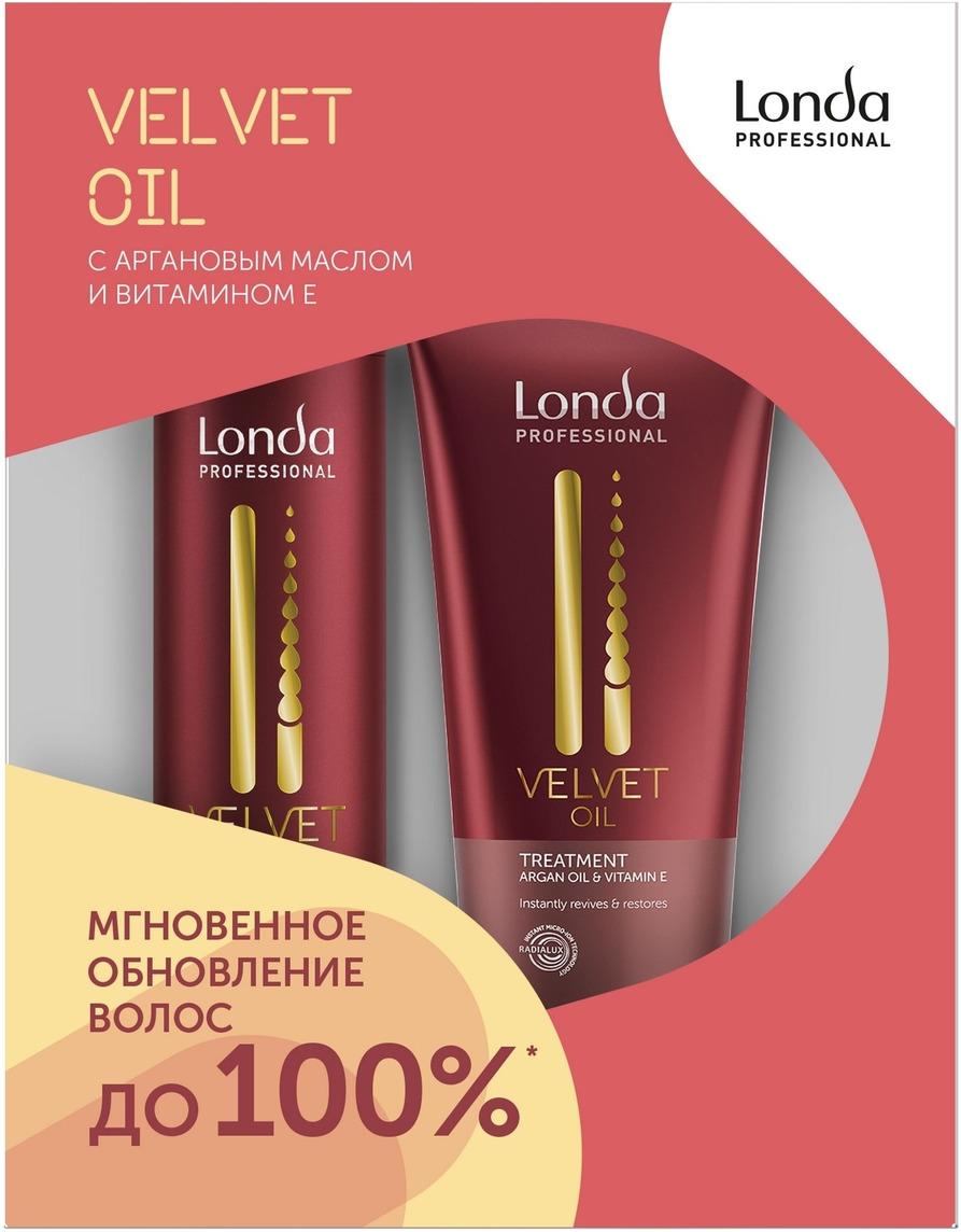 Londa Velvet Oil подарочный набор для обновления волос с аргановым маслом, 250+200 мл londa professional шампунь velvet oil с аргановым маслом 250 мл